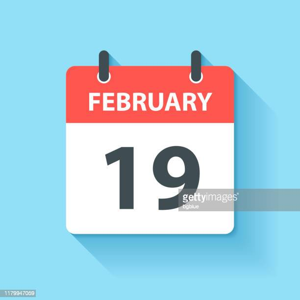 february 19 - daily calendar icon in flat design style - february stock illustrations