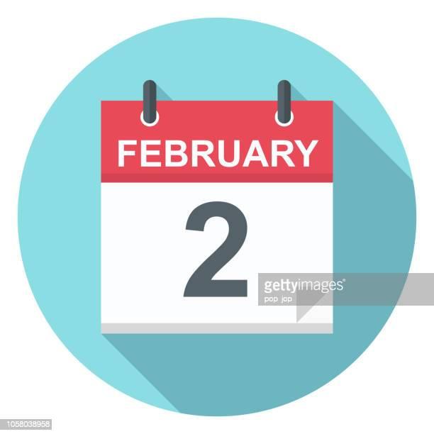 illustrazioni stock, clip art, cartoni animati e icone di tendenza di 2 febbraio - icona calendario - numero 2