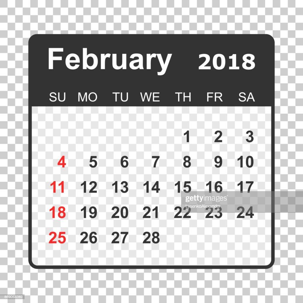 february 2018 calendar calendar planner design template week starts