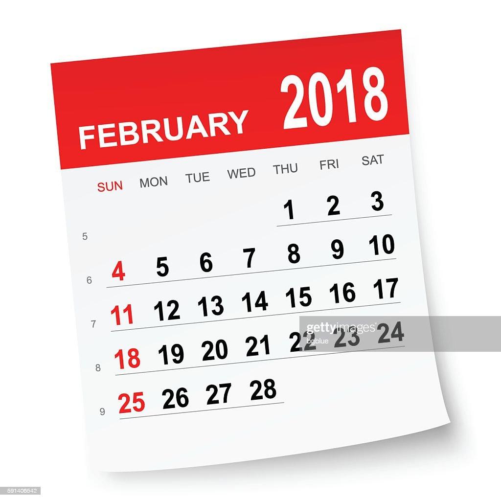 February 2018 calendar : stock illustration