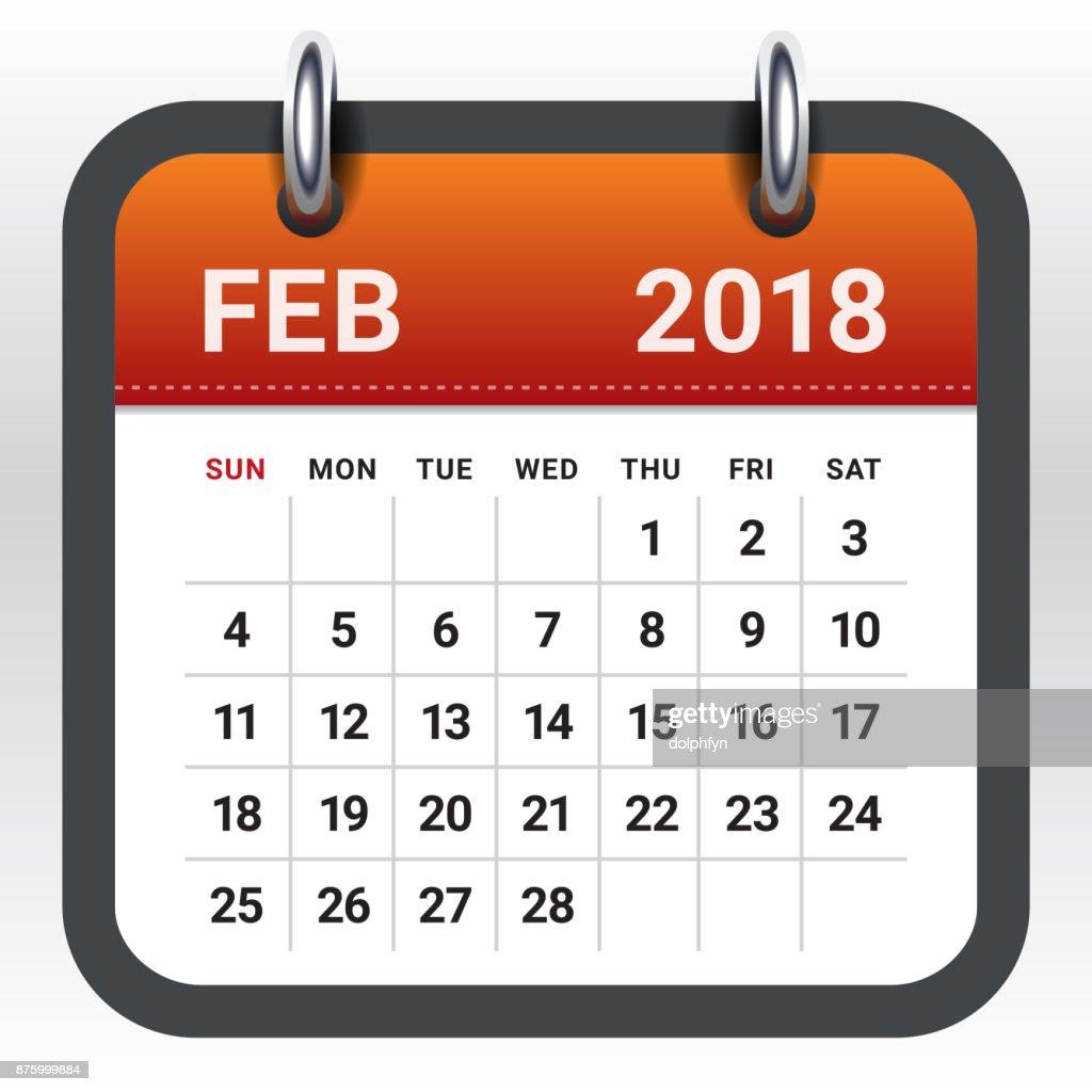 February 2018 calendar vector illustration
