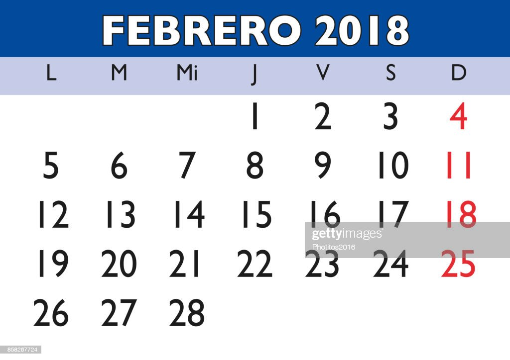 february 2018 wall calendar spanish vector art