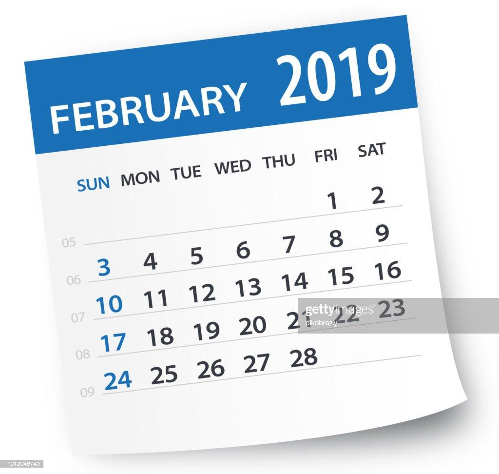 February 2019 Calendar Leaf - Vector Illustration