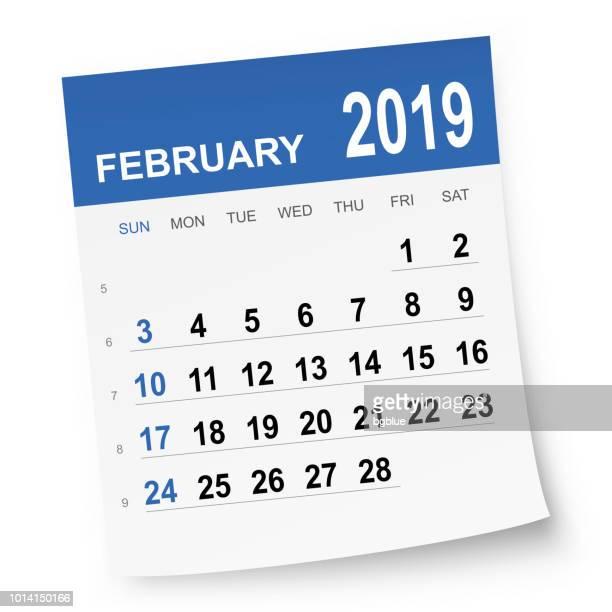 ilustrações de stock, clip art, desenhos animados e ícones de february 2019 calendar - fevereiro