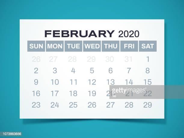 february 2020 calendar - february stock illustrations