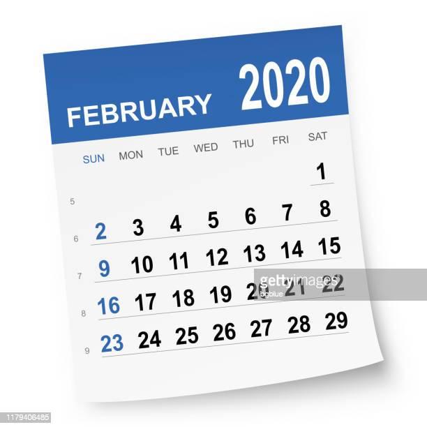 ilustrações de stock, clip art, desenhos animados e ícones de february 2020 calendar - fevereiro
