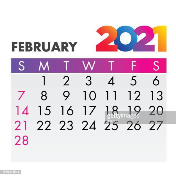 february 2021. calendar 2021 design template week start on sunday. stock illustration - february stock illustrations