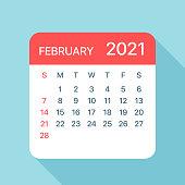 February 2021 Calendar Leaf - Vector Illustration