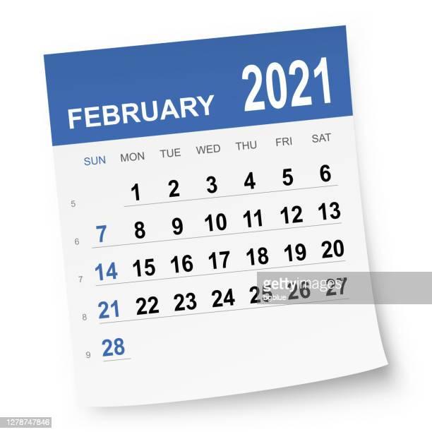 february 2021 calendar - february stock illustrations
