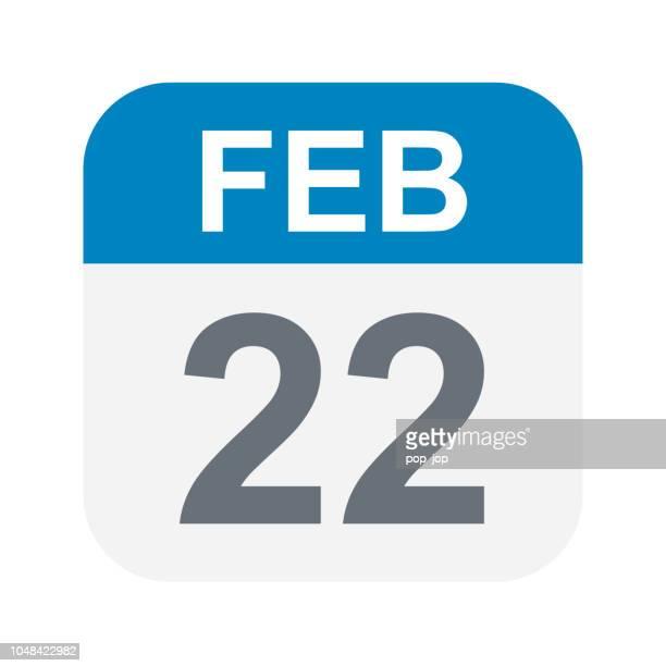 february 22 - calendar icon - february stock illustrations, clip art, cartoons, & icons