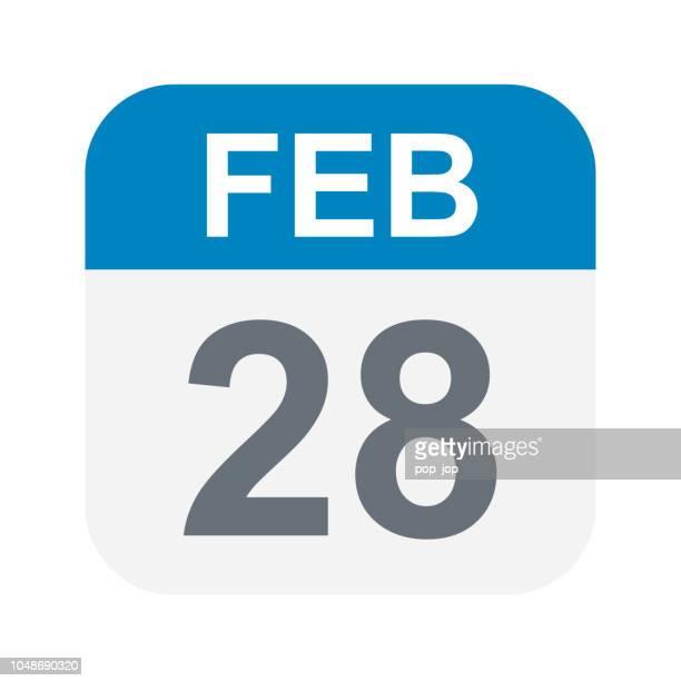 february 28 - calendar icon - february stock illustrations, clip art, cartoons, & icons
