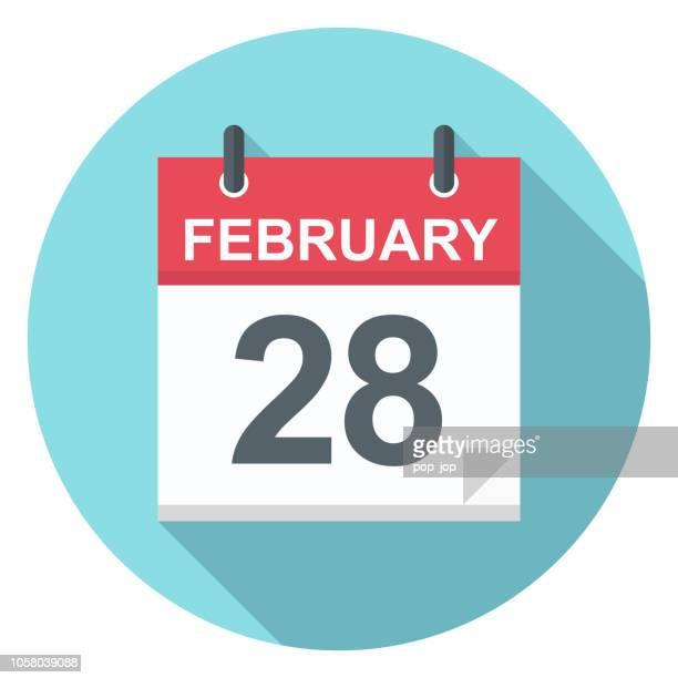 february 28 - calendar icon - february stock illustrations