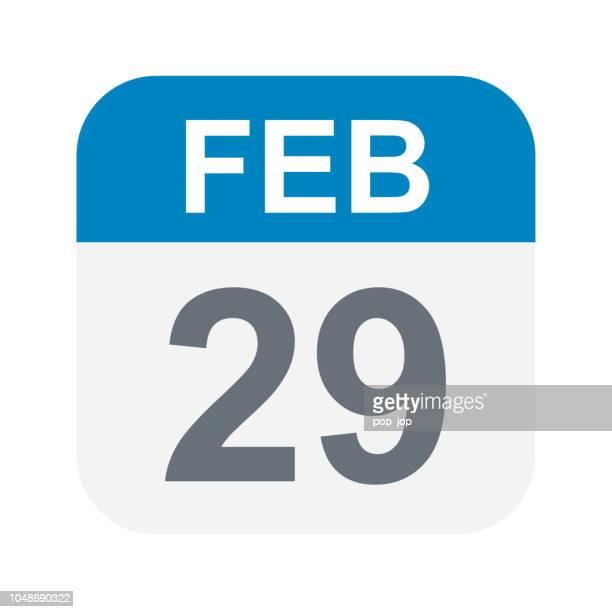 ilustrações de stock, clip art, desenhos animados e ícones de february 29 - calendar icon - fevereiro
