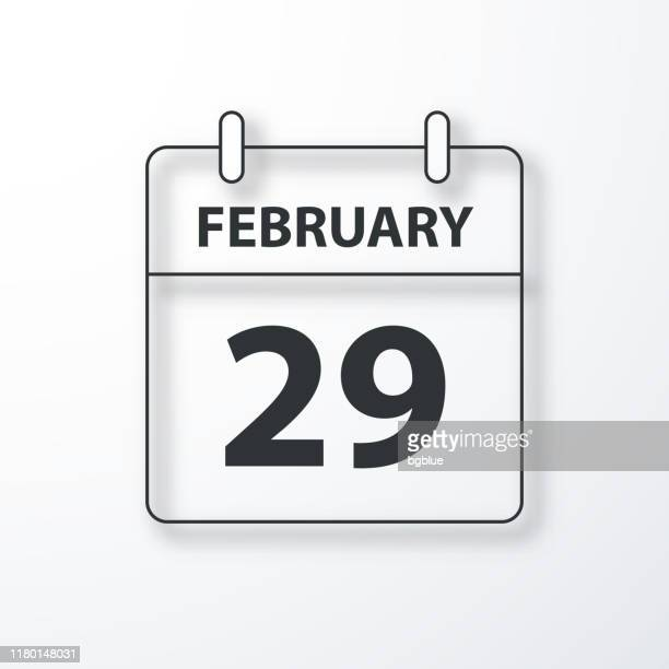 illustrazioni stock, clip art, cartoni animati e icone di tendenza di february 29 - daily calendar - black outline with shadow on white background - anno bisestile