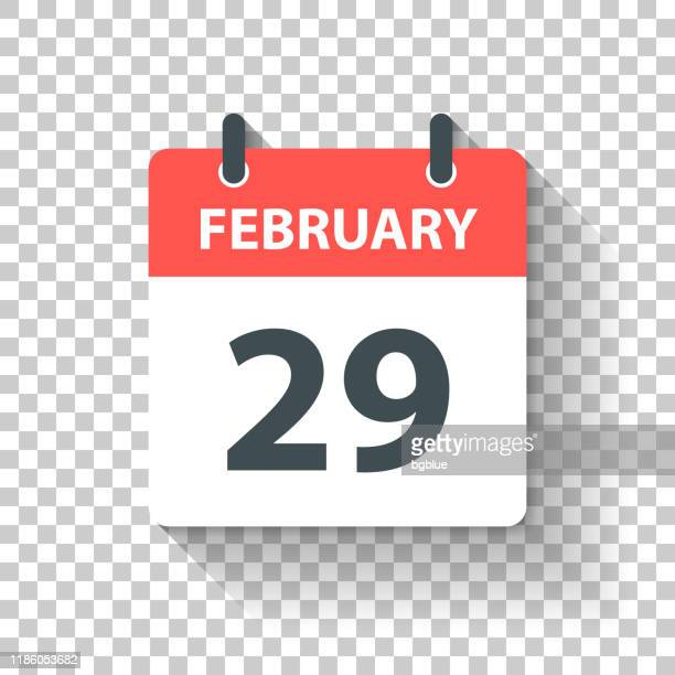 february 29 - daily calendar icon in flat design style - february stock illustrations