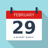 February 29. Leap day, year. Flat daily icon. Eps. Vector illustration.