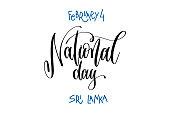 february 4 - national day - sri lanka, hand lettering inscriptio
