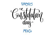 february 5 - constitution day - mexico, hand lettering inscripti