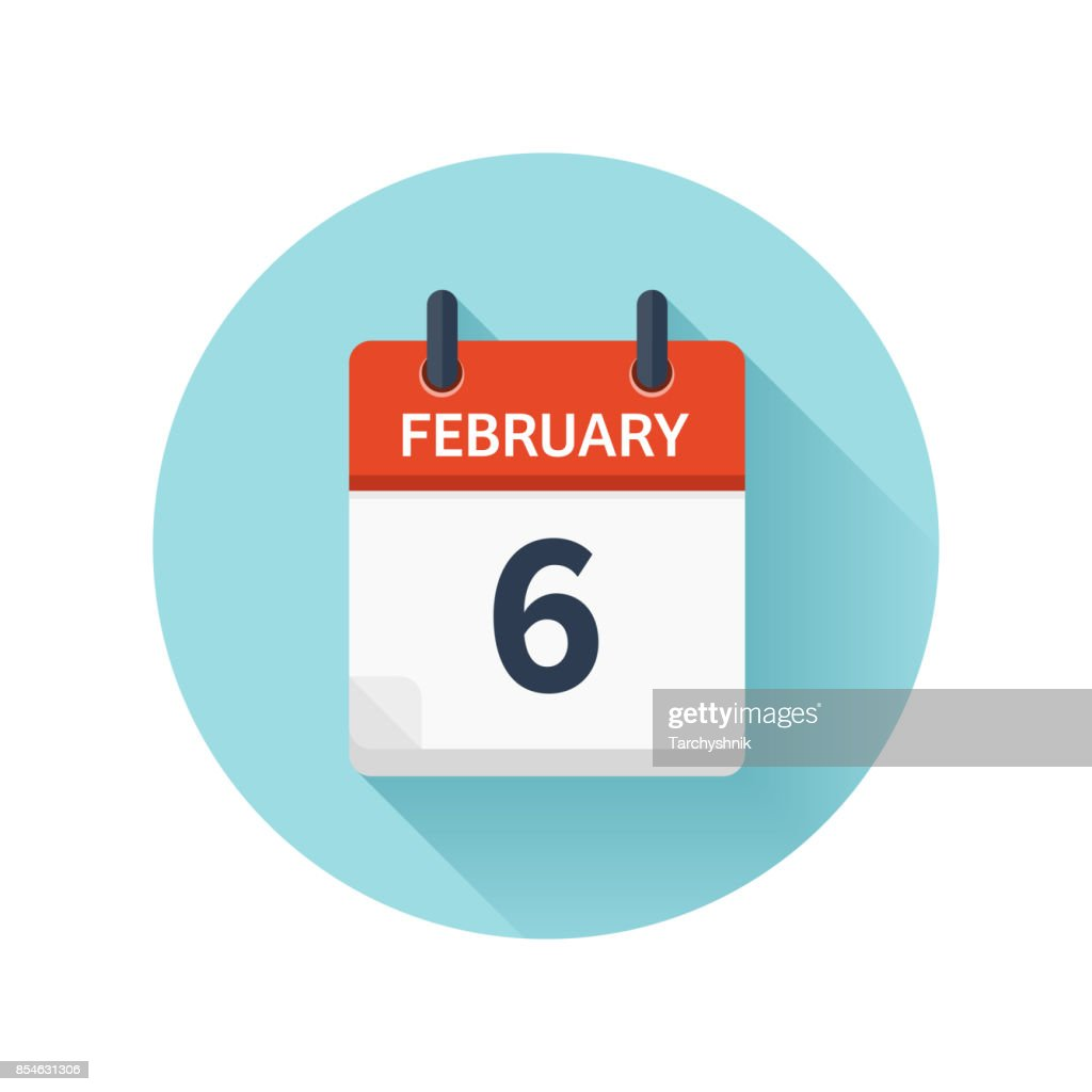 February 6. Vector flat daily calendar icon. Date and time, day, month 2018. Holiday. Season