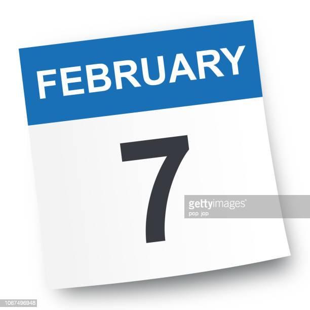 february 7 - calendar icon - february stock illustrations