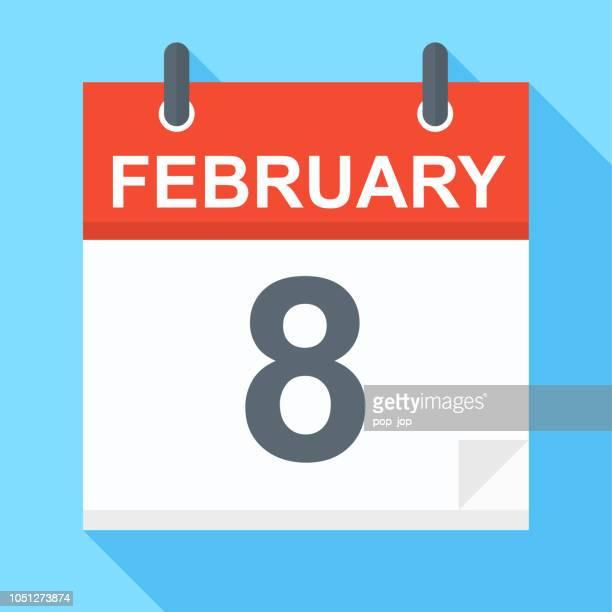 february 8 - calendar icon - february stock illustrations, clip art, cartoons, & icons