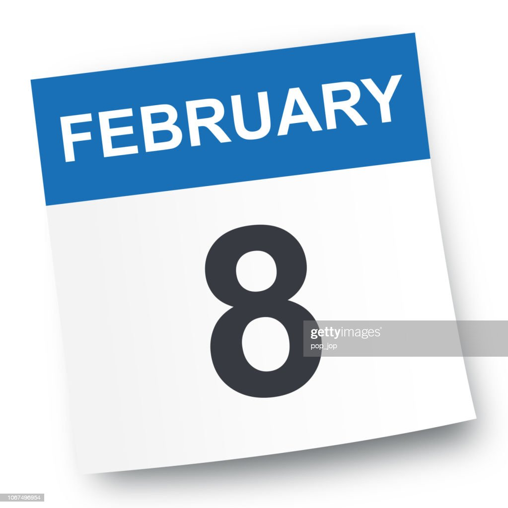 February 8 - Calendar Icon : stock illustration