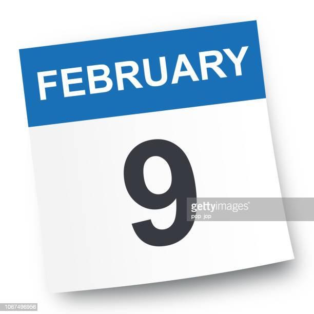 february 9 - calendar icon - february stock illustrations