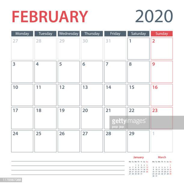 2020 february calendar planner vector template. week starts monday - february stock illustrations