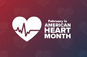 February is American Heart Month. Holiday concept. Template for background, banner, card, poster with text inscription. Vector EPS10 illustration.