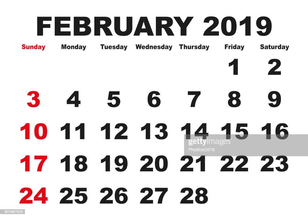 February month calendar 2019 english USA