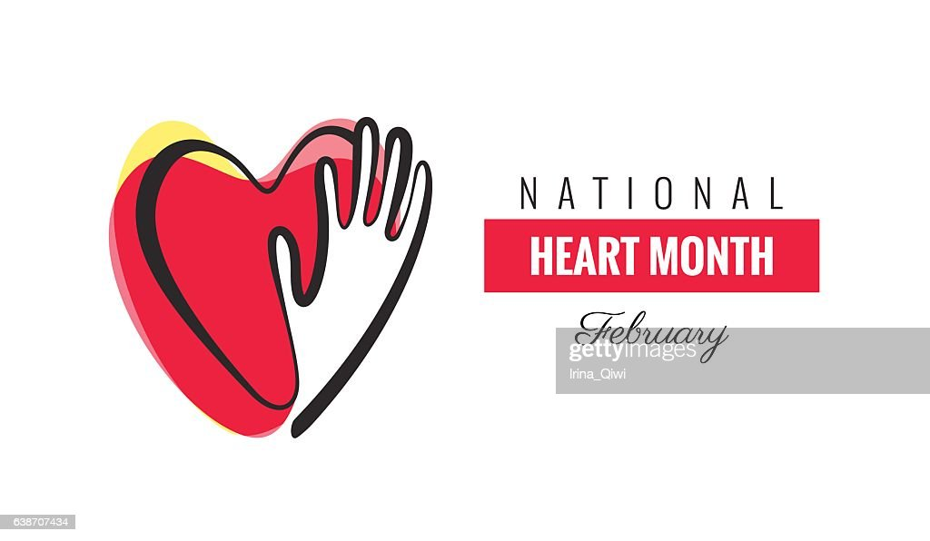 February National Heart Month Poster. Hands and hearts design.