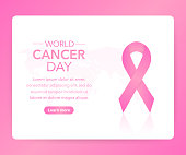 4 February World Cancer Awareness Month Campaign Background with paper Magenta ribbon symbol. Vector illustration.