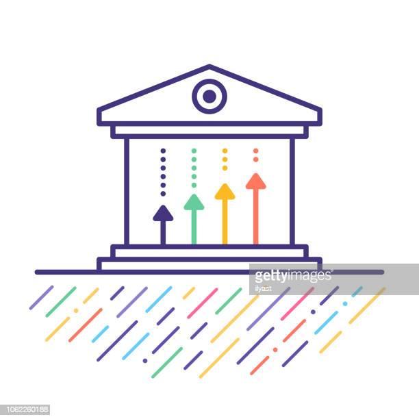ilustraciones, imágenes clip art, dibujos animados e iconos de stock de presupuesto federal impuesto cortes línea icono ilustración - impuestosobrelarenta