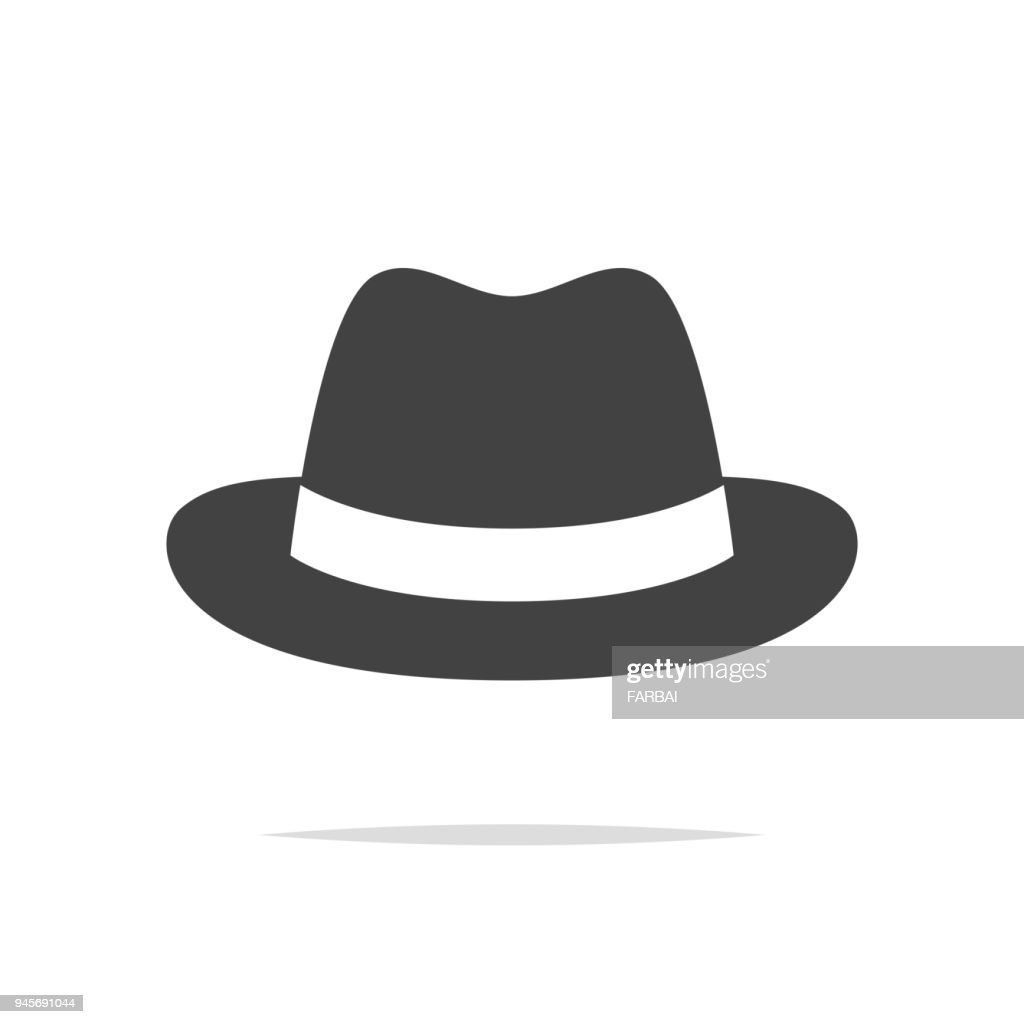 Fedora hat icon vector isolated