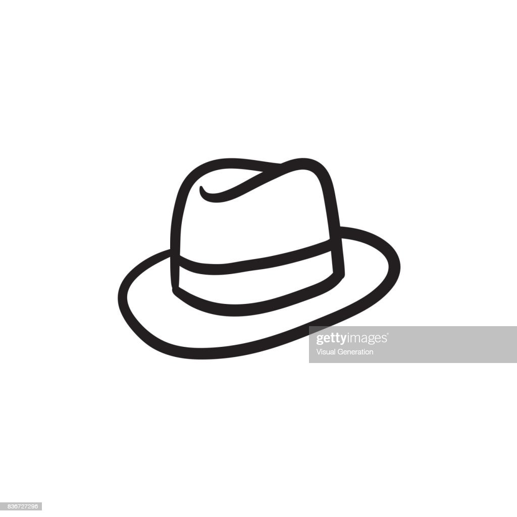 Fedora hat sketch icon