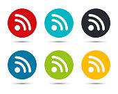 RSS Feed icon flat round button set illustration design