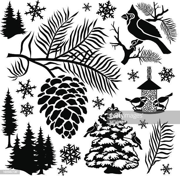 feed the birds - pine cone stock illustrations, clip art, cartoons, & icons