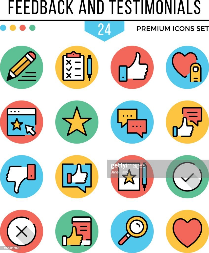 Feedback and testimonials icons. Modern thin line icons set. Premium quality. Outline symbols, graphic concepts, round flat line icons. Vector illustration