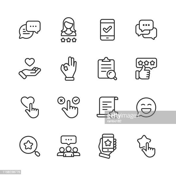feedback and testimonials  line icons. editable stroke. pixel perfect. for mobile and web. contains such icons as feedback, testimonials, survey, review, clipboard, happy face, like button, thumbs up, badge. - man made object stock illustrations