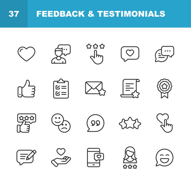 feedback and testimonials line icons. editable stroke. pixel perfect. for mobile and web. contains such icons as feedback, testimonials, survey, review, clipboard, happy face, like button, thumbs up, badge. - heart shape stock illustrations