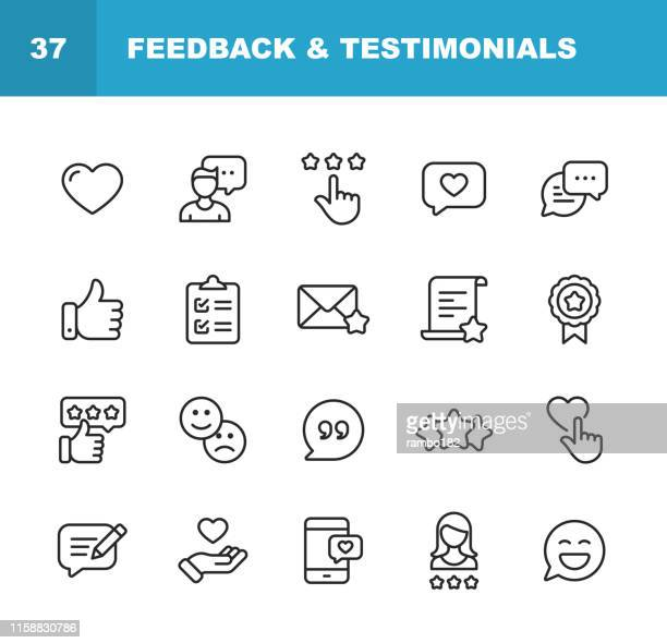 feedback and testimonials line icons. editable stroke. pixel perfect. for mobile and web. contains such icons as feedback, testimonials, survey, review, clipboard, happy face, like button, thumbs up, badge. - emotion stock illustrations