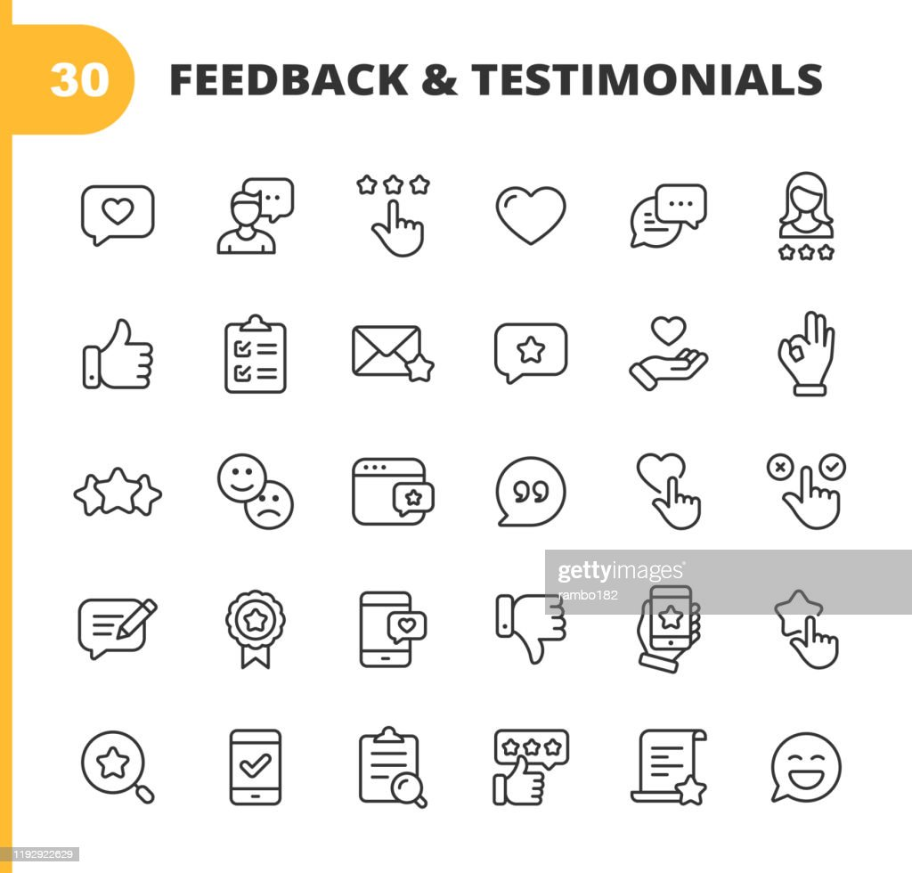 Icone di linea feedback e testimonianze. Tratto modificabile. Pixel Perfetto. Per dispositivi mobili e Web. Contiene icone come Feedback, Testimonianze, Sondaggio, Revisione, Appunti, Volto felice, Pulsante Mi piace, Pollice in su, Badge. : Illustrazione stock