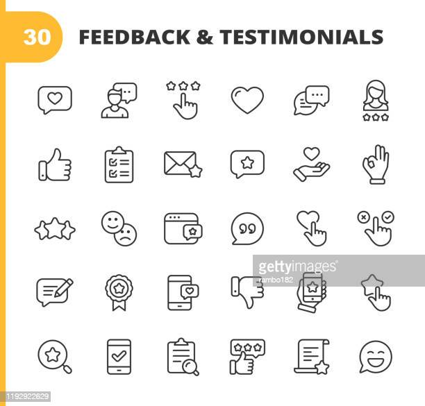 feedback and testimonials line icons. editable stroke. pixel perfect. for mobile and web. contains such icons as feedback, testimonials, survey, review, clipboard, happy face, like button, thumbs up, badge. - like button stock illustrations