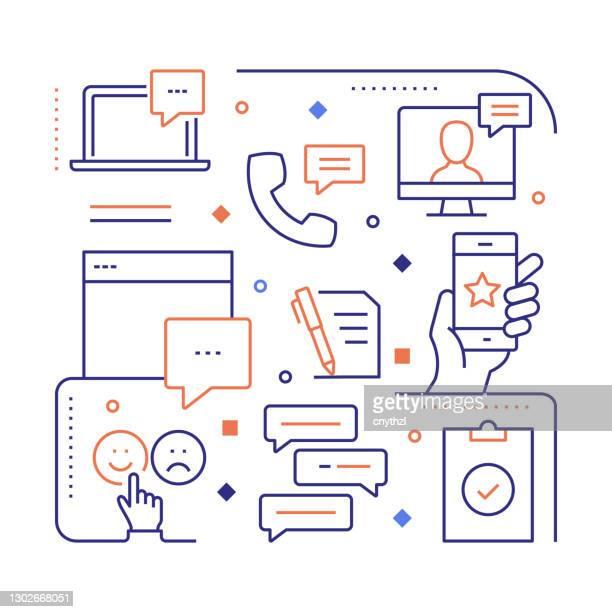 stockillustraties, clipart, cartoons en iconen met feedback en getuigenissen gerelateerde modern lineair design vector illustratie voor web banner, website header, brochure, jaarverslag etc. - feedback