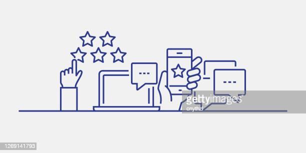 feedback und testimonials verwandte web banner line style. moderne lineare design vektor-illustration für web-banner, website-header usw. - fragebogen stock-grafiken, -clipart, -cartoons und -symbole