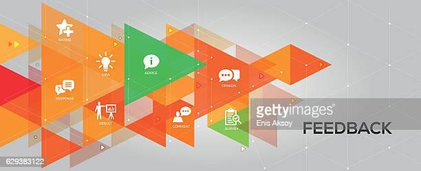 ilustraciones, imágenes clip art, dibujos animados e iconos de stock de feedback banner and icons - cuestionario