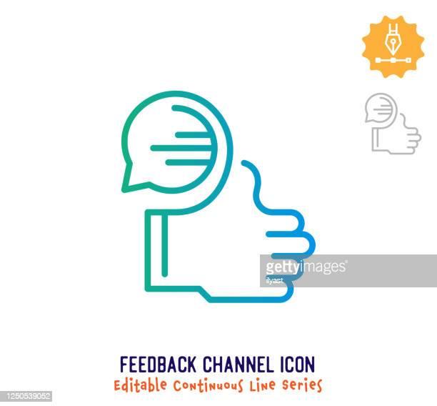 stockillustraties, clipart, cartoons en iconen met pictogram continulijn van feedbackkanaal - feedback