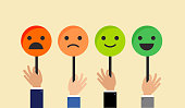 Feedback concept design, emoticon, emoji and smile, emotions scale