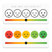 Feedback emoticon flat design icon set. Customer rating satisfaction meter with different emotions. Excellent, good, normal, bad awful Vector illustration