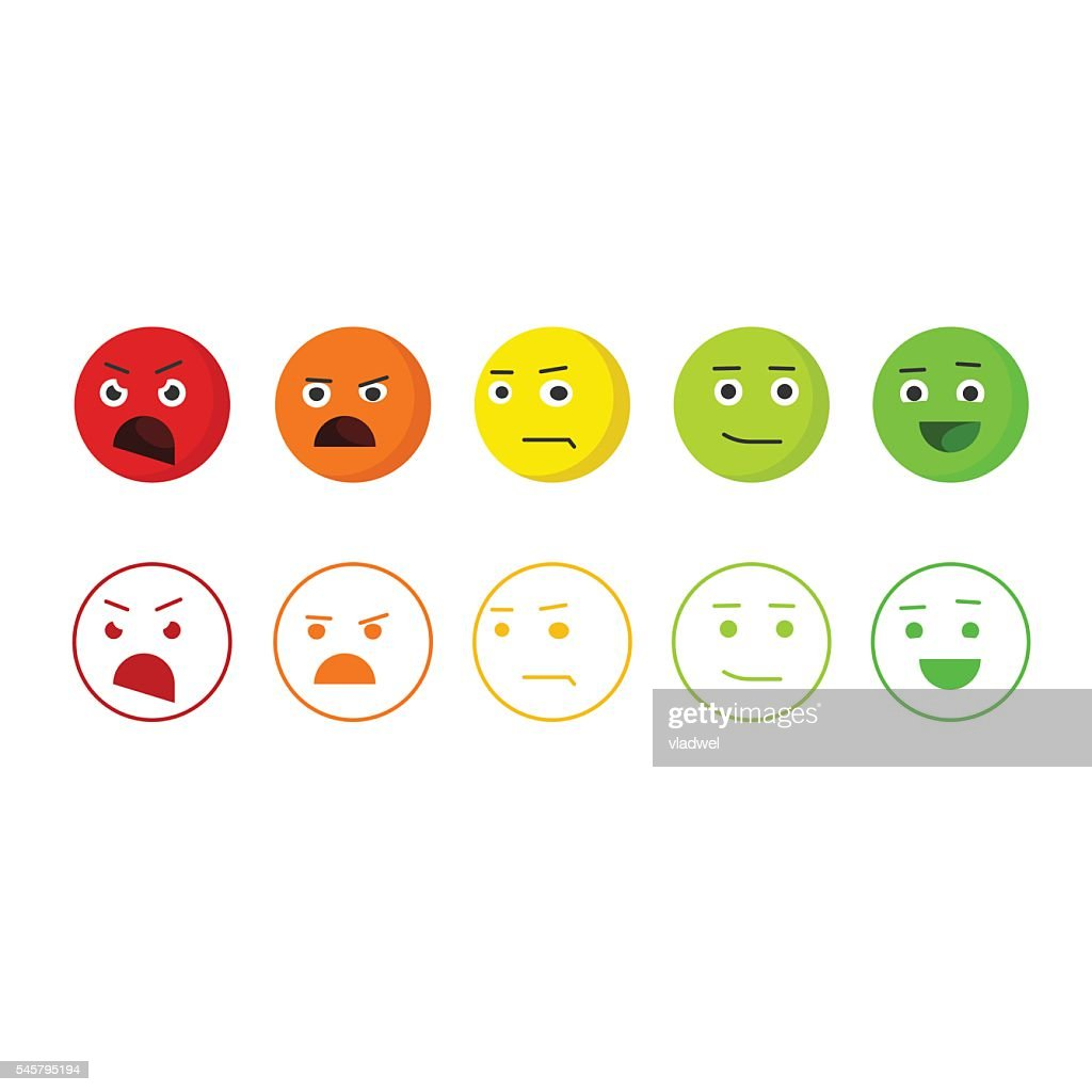 Feedback emoticons vector icons, concept of satisfaction rating emoji